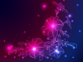 vector neon background with flowers and stars