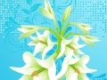 vector floral background, lily white