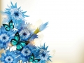 cute blue realistic flowers