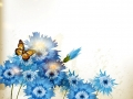 Background with cute blue realistic cornflowers