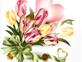 Cute valentine background with  pink heart and realistic tulip flowers
