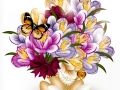 Beautiful realistic vector bouquet of flowers with eggs for easter card design