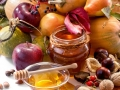 .honey, apples and autumn fruits