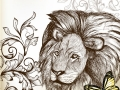 Vintage background with hand drawn lion