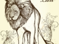 Elegant stylish background with hand drawn lion