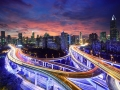 Shanghai highway view at sunset