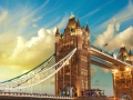 London, The Tower Bridge lights show at sunset