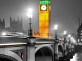 The Big Ben, the House of Parliament and the Westminster Bridge at night, London, UK.