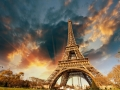 Wonderful view of Eiffel Tower in Paris. La Tour Eiffel with sky and meadows