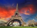 Paris - La Tour Eiffel. Wonderful sunset colors in winter season