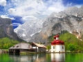 beautiful Alpen scenery -crystal lake Konigsee  with small chuch