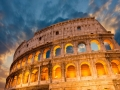 Wonderful view of Colosseum in all its magnificience - Autumn sunset in Rome
