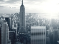 Amazing view to New York Manhattan at sunset
