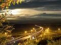 Highway in night with cars light