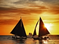 sailing on sunset. Boracay island,Philippines