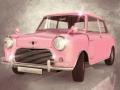 Pequeño coche de época rosa