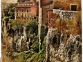 old Cuenca, city of medieval Spain - retro picture