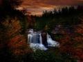 autumn-sunset-waterfall